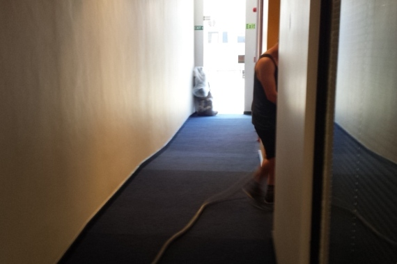 vacuming carpet after carpet installation""